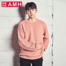 AMH韩版男装春装2018休闲青年潮流圆领套头针织衫男OJ7648琳