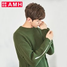 AMH韩版男装春装2018青年学生圆领时尚长袖针织衫男NR7194琎