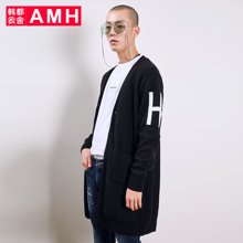 AMH韩版男装春装2018青年学生潮流中长款开衫针织衫男NQ7227翼