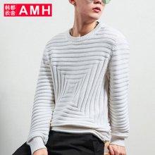 AMH韩版男装2018春装新款青年圆领套头长袖针织衫NV7184璟