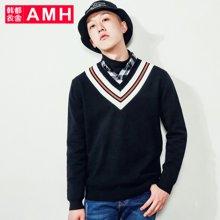 AMH韩版男装2018春装潮流青年条纹V领时尚休闲毛衣男QU7132夢