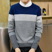 Guuka/古由卡男士休闲长袖线衫纯棉保暖毛衣条纹撞色M-899
