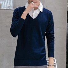 Guuka/古由卡男士休闲长袖线衫纯棉保暖毛衣假两件纯色M-88011