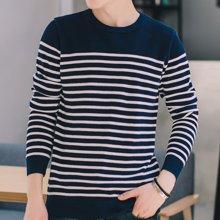 Guuka/古由卡男士休闲长袖线衫纯棉保暖毛衣条纹撞色M-17031