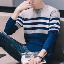 Guuka/古由卡男士休闲长袖线衫纯棉保暖毛衣条纹撞色M-17040