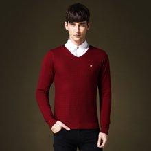 史克维斯男士提花毛衣V领修身秋冬季韩版潮流套头针织衫男Z8075