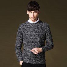史克维斯男士毛衣冬季加厚圆领套头提花针织衫修身麻花线衣潮Z8081