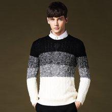 史克维斯新款男士渐变毛衣潮流圆领提花针织衫拼色男装线衣Z8092