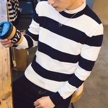 史克维斯男装2016秋装新款圆领套头毛衣男 时尚条纹休闲青年长袖毛衫M1624
