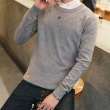 史克维斯2016新款秋装男士纯色毛衣韩版修身型百搭套头上衣休闲针织衫M1665