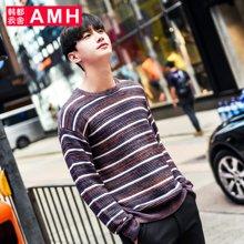 AMH男装韩版2017春季新款宽松落肩圆领长袖毛衣男QO7013薬