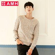AMH 2017春季新款时尚韩版毛衣男学生圆领套头男士潮流针织衫燊