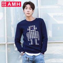 AMH男装韩版 秋季新款圆领青年潮流修身男士毛衣男PF5662璟