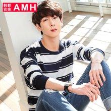 AMH男装韩版2017春季修身圆领针织条纹套头毛衣OD6120夢