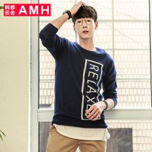 AMH男装韩版 秋季新款字母修身圆领套头毛衣男OD5646夢