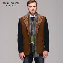 迪仕尼奴秋季新款中年男士毛呢大衣商务毛领外套男爸爸装88313C
