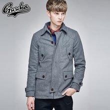 Guuka/古由卡男士毛呢大衣加厚款修身型青年学生百搭日系风衣V1029