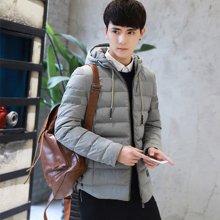 魔力怪车 冬季新款韩版加绒加厚青年休闲男装时尚轻薄羽绒服白鸭绒 X1008AA1255