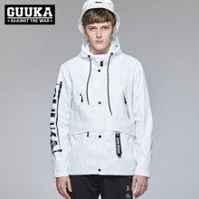 Guuka/古由卡原创设计潮牌风衣男jacket拉链秋冬外套飞行夹克防雨冲锋衣G0807