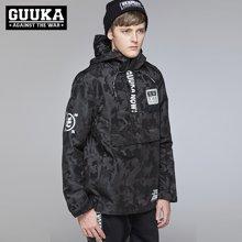 Guuka/古由卡潮牌暗迷彩风衣外套男 魔术贴字母休闲男装青年外套冲锋衣G0980