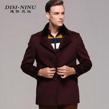 迪仕尼奴冬款男装休闲大衣 羊毛呢大衣 獭兔毛皮领呢大衣8323C