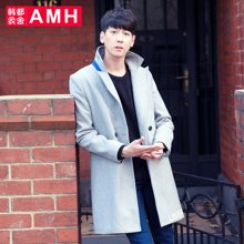 AMH 男装 2016冬季新款毛呢大衣韩版修身休闲中长款呢子外套男麒
