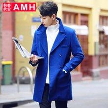 AMH 男装韩版 2016冬季新款男士青年潮流修身中长款毛呢大衣外套荞