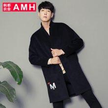 AMH男装韩版冬装2017新款潮流落肩宽松毛呢大衣外套NS5660夢餸