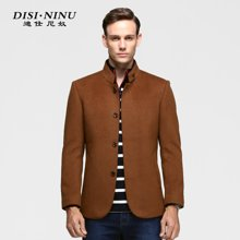 迪仕·尼奴冬款中年男士休闲外套 纯色商务立领羊毛呢大衣8333C