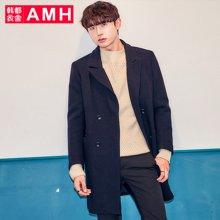 AMH韩版男装冬装新款韩范时尚中长款毛呢大衣外套QU7085薬