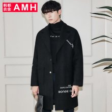 AMH韩版男装冬装新款时尚宽松中长款毛呢大衣外套PA7355薬