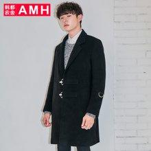 AMH韩版男装冬装2017新款青年韩范时尚毛呢大衣外套男QZ7252恊