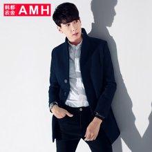 AMH男装呢子大衣男 冬季新款潮流修身中长款加厚毛呢外套恊