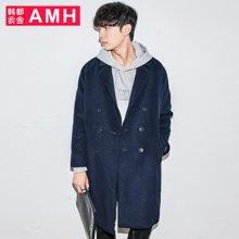 AMH韩版男装冬装2017新款宽松中长款毛呢大衣外套男QO7762薬
