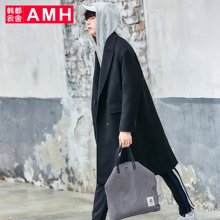 AMH韩版男装冬装2017新款青年中长款毛呢大衣男外套NR7184恊