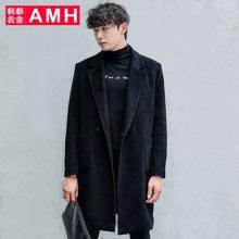 AMH韩版男装冬装2017新款中长款休闲毛呢大衣外套男NZ7053燊