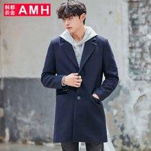 AMH韩版男装冬装2017新款翻领纯色中长款毛呢大衣外套OD7177夢
