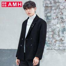 AMH韩版男装新款青年休闲黑色毛呢大衣外套男OJ7722燑