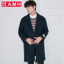 AMH男装2017冬季新款韩版宽松落肩纯色呢大衣毛呢外套NV7028璟