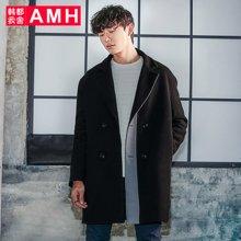 AMH男装2017冬季新款韩版青年纯色中长款毛呢大衣外套OD7142璟