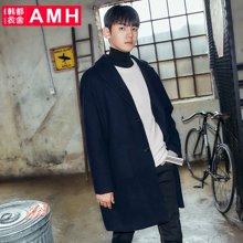 AMH韩版男装冬装2017新款时尚宽松中长款毛呢大衣外套OC7720