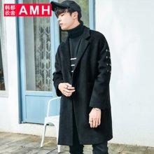 AMH韩版男装冬装2017新款潮流黑色宽松长款毛呢大衣外套GR7298燊
