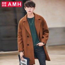 AMH韩版男装冬装2017新款宽松学生潮流毛呢大衣外套男QZ7236恊
