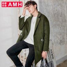 AMH韩版男装新款青年潮流休闲毛呢大衣外套男NZ7057燊