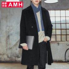 AMH韩版男装冬装2017新款青年纯色长款毛呢大衣外套男NS7025夢