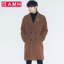 AMH韩版男装冬装2017新款青年中长款宽松毛呢大衣外套NV7038璟