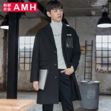 AMH韩版男装冬装2017新款韩范时尚黑色长款毛呢大衣外套OJ7723燑