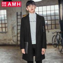 AMH韩版男装冬装2017新款韩范时尚中长款毛呢大衣外套NX7118恊