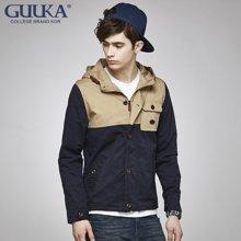 Guuka/古由卡男士连帽风衣撞色修身型百搭外套潮G1061