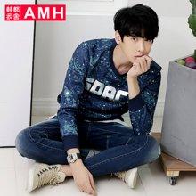 AMH 男装韩版 2016秋装新款修身圆领休闲印花卫衣外套男